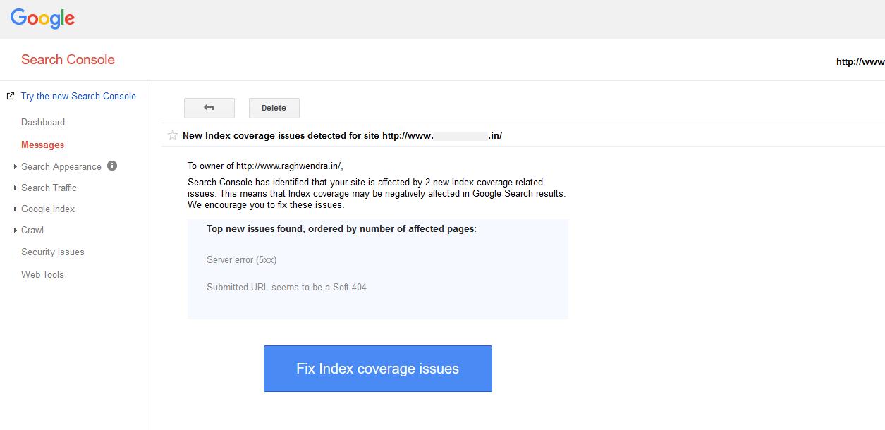 Google webmaster index coverage issue for wordpress website