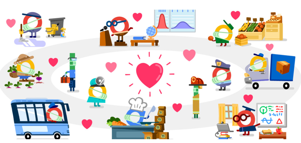 Coronavirus helpers : Google Doodle