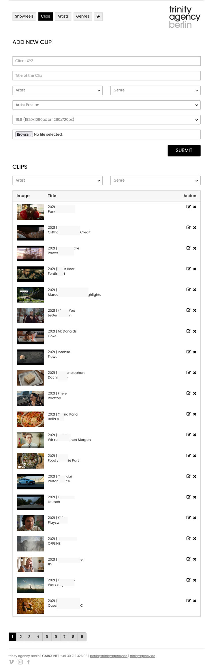 PHP application Showreels project  clips list and add