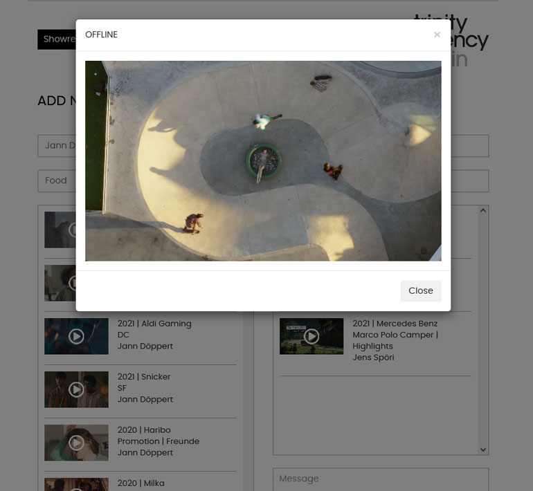 PHP application Showreels project  video player with popup
