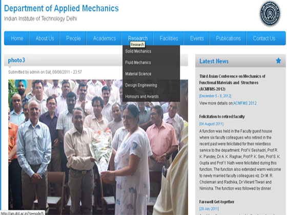 Drupal website - Department of Applied Mechanics-Indian Institute of Technology Delhi