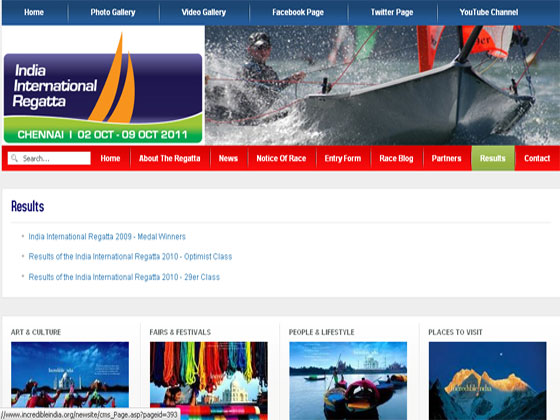 India International Regatta - Joomla latest version 3.x website development
